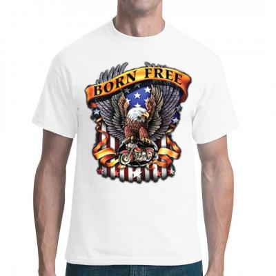 Freiheit - Kaum etwas symbolisiert dieses Wort so gut wie ein chromblitzendes Motorrad und der Adler, das amerikanische Wappentier.  Wenn auch du ein Fan des amerikanischen Traumes bist, dann hol dir diesen coolen Print für dein Shirt