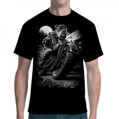 Pitbull auf einem Motorrad Cooles Biker Shirt Motiv, ideal als Geschenk