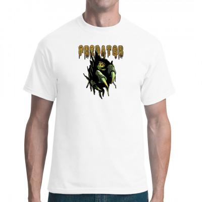Wir wissen nicht, was für eine Bestie hier aus deinem T-Shirt hervor brechen will, aber was es auch ist, es wird nicht schön enden. Vielleicht ist es ein Raptor, vielleicht etwas viel Gefährlicheres.