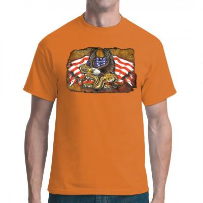 Klapperschlange, Flaggen und Adler Cooler übergroßer Shirt-Druck für alle amerikanischen Patrioten