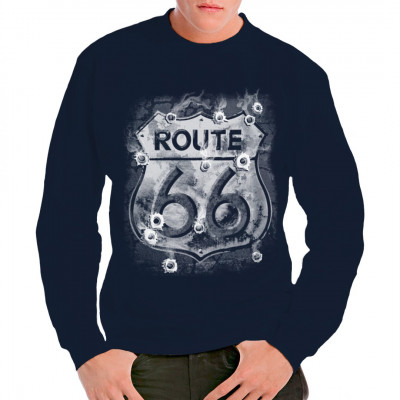 Cooles Motiv für alle Biker, Trucker und sonstige harte Jungs. Die legendäre Route 66 hat so manche wilde Verfolgungsjagd miterlebt, ist es dabei so unwahrscheinlich, dass die typischen Straßenschilder auch ein paar Kugeln eingefangen haben?