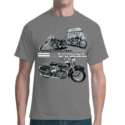 Cooles Biker Shirt mit einem chromglänzenden Chopper. Das ist der American Way - auf ner fetten Maschine über endlose Highways tuckern.  Mittels Siebdruck-Transferverfahren aufgebracht. waschfest