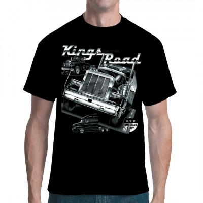 Als Fahrer eines typischen amerikanischen Trucks mit endlos viel Hubraum fühlt man sich wahrhaft wie der König der Straße. Cooles Motiv für alle Trucker und Fans amerikanischer Zugmaschinen