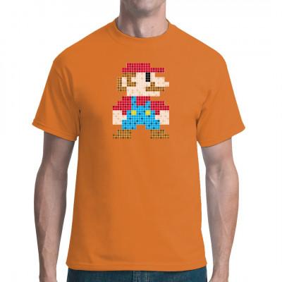 Gibt es einen besseren Weg den Helden unserer Kindheit, den Klempner Mario, zu ehren, als mit einem tollen Shirt im Pixel Art Stil? Motivgröße: ca. 22x29cm