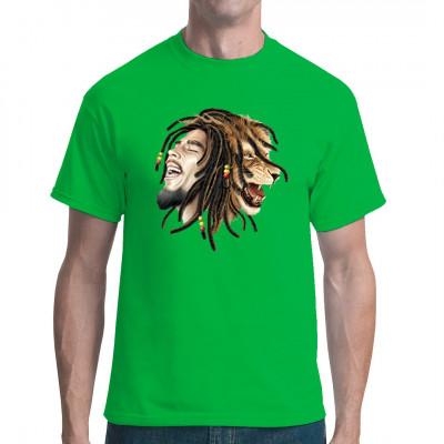 Dieser toller Druck verdeutlicht die Bedeutung der Dreadlocks als Symbol für die Mähne des Löwen von Juda. VIele bekannte Reggae-Musiker trugen diese traditionelle Haarpracht, z.B. Bob Marley oder Peter Tosh.