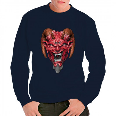 Ob Luzifer, Beelzebub oder Mephisto - der Teufel ist unter vielen Namen bekannt. Das Shirt zeigt eine Darstellung seines Kopfes.