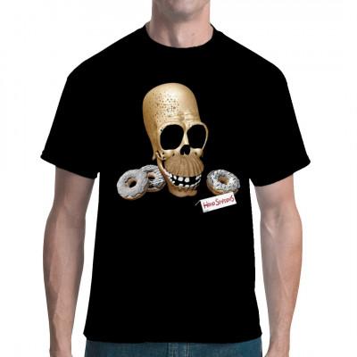 Shirt mit Homer Simpsons Schädel und ein paar versteinerten Donuts - den Überbleibseln unserer Zivilisation.