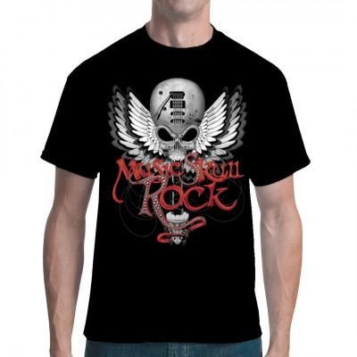 Der Totenschädel bildet den Korpus einer E-Gitarre, an der Flügel angebracht sind - ein Shirt für Rocker und Biker.