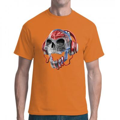 Kristall - Totenschädel mit roten Kopfhörern. Tolles Shirt Motiv für alle Musik - Fans