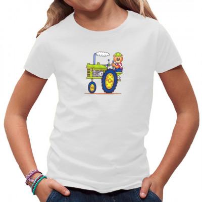 Teddybär auf Traktor Witziges Comic Shirt für Kids und Trecker - Fans