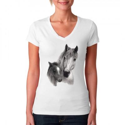 Pferd mit Fohlen Tolle Pferde-Motiv für Tierfreunde