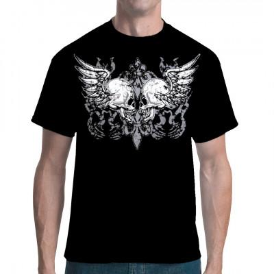 Zwei Totenköpfe mit Flügeln als übergroßer Aufdruck für dein Lieblingsshirt.