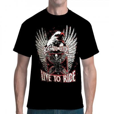 Live to Ride - Born to Glide Cooles Rocker - Motiv mit einem Adler für alle Biker