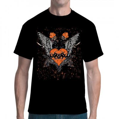 Geflügeltes Herz mit Tribal - Tattoo als cooler Oversize Aufdruck für dein Shirt.