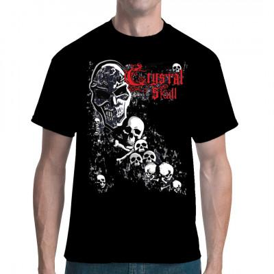 Totenschädel und Knochen mit Aufschrift Crystal Skull Cooles übergroßes Gothic Biker Motiv für dein Shirt