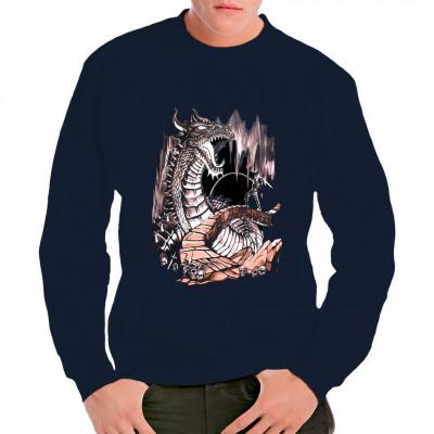 Drachentöter - Ritter im Kampf mit feuerspeienden Drachen Cooles Fantasy Motiv für dein T-Shirt, Sweatshirt oder V-Neck.