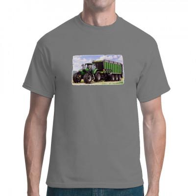 Ein Traktor ist nur die halbe Miete, erst Anbauteile und Nutzlasten lassen ihn zum Allzweckwerkzeug werden.  Tolles Shirt-Motiv mit einem Deutz und grünem Anhänger auf dem Feld.