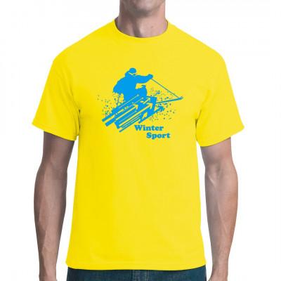 Ski ist der pure Bewegungsdrang. Egal ob Sotschi oder Oberhof, Abfahrt und Slalom bieten überall Spaß an der Leistungsgrenze. Zeig deine Verbundenheit zu alpinen Sportarten mit diesem tollen Druck auf deinem Shirt.  Motivfarbe: Hellblau