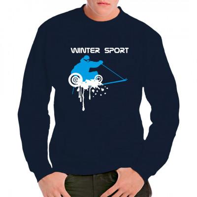 Der nächste Schneefall kommt bestimmt. Egal ob bei Abfahrt, Langlauf, Skicross oder dem Après-Ski, mit diesem tollen Druck auf deinem T-Shirt oder Sweatshirt bist du garantiert passend gekleidet. Motivfarbe: Weiß & Blau