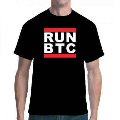 Freizeit Tetxilien RUN BTC Shirt - Mining -T-Shirt Textil Crypto Merch, Cryptowährungen Blockchain Merchendising