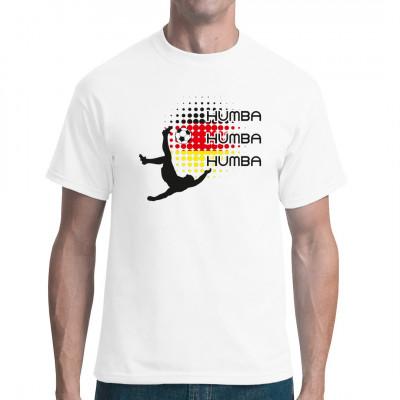 Fußball-Spieler in den deutschen Nationalfarben als Motiv für dein T-Shirt, Sweatshirt oder V-Neck.