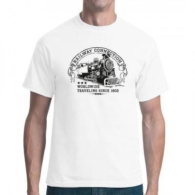 Als Eisenbahnfan werden Sie mit diesem T-Shirt, das eine alte Dampflokomotive zeigt, sicher glücklich.
