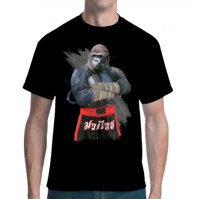 Gorilla im Outfit eines Muay Thai - Kämpfers Cooles Motiv für Kampfsport - Fans