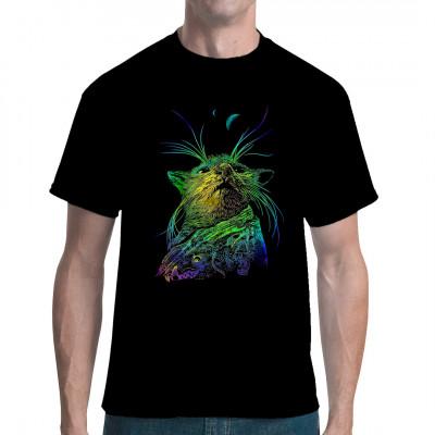 Die stolze Maus im Mondschein. Modisches Shirt-Motiv für dunkle Farben.