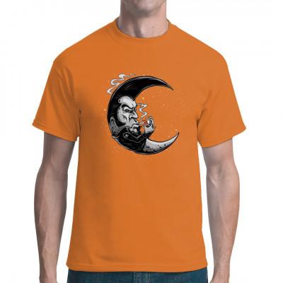 Sichelmond mit Lederjacke, Zigarette und Haartolle Cooles Rockabilly - Motiv im Stil der 60er Jahre. Wer sagt, dass das Mondgesicht nicht aussehen kann wie James Dean?