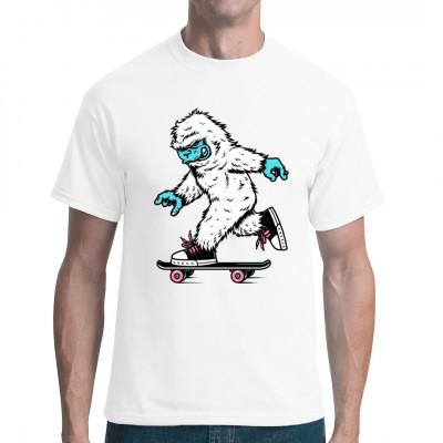 Longboard Yeti - ob Skateboard oder Longboard mit diesem Motiv bist du absolut IN - tolles Fun Shirt  - auch ein tolles Geschenk
