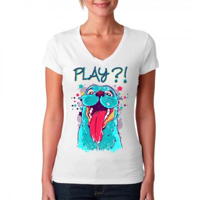 Spiel mit mir und schau mir in die Augen ... tolles T-Shirt Motiv was mittels Direktdruck Verfahren in die Textilien eingebracht wird. Ein muss für jeden Hunde Fan und ein tolles Geschenk.