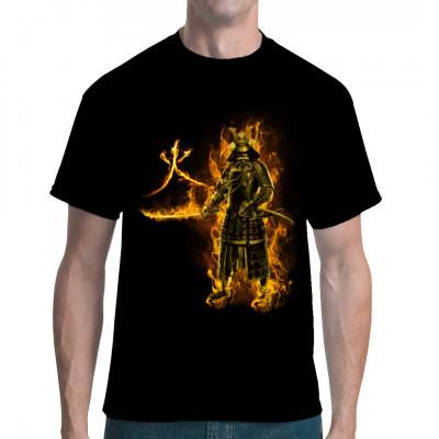 Flammende Silhouette eines japanischen Samurai mit seinem Schwert. Daneben dargestellt ist das Kanji - Symbol für Feuer.