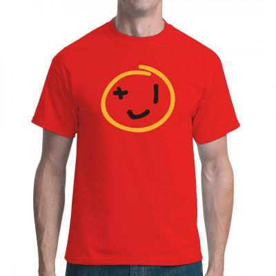 """Smiley mit """"+1"""" Augen im klaren Look als frecher Aufdruck für dein T-Shirt, Sweatshirt oder V-Neck. Mittels Digital-Direktdruck aufgebracht. waschfest"""