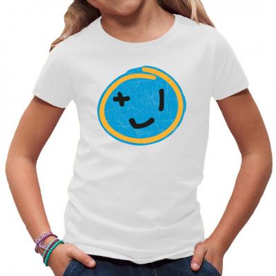 """Smiley mit """"+1"""" Augen im Destroyed-Look als frecher Aufdruck für dein T-Shirt, Sweatshirt oder V-Neck.  Mittels Digital-Direktdruck aufgebracht. waschfest"""