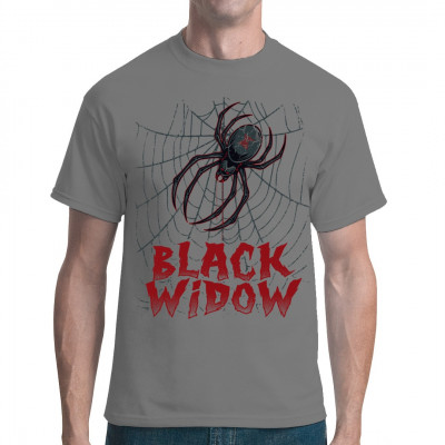 Schwarze Witwe im Spinnennetz als Digital-Direktdruck für dein Shirt.