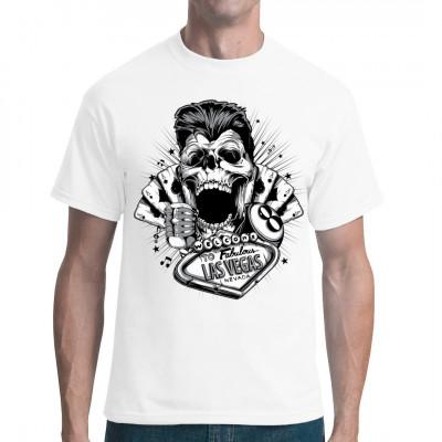 Kartenspiele, Billiard, Musik, Shows und Party bis zum Umfallen - das alles erwartet einen in Fabulous Las Vegas. Hol dir dieses coole Shirt mit einem Totenkopf im Rockabilly - Stil.  Mittels Digital-Direktdruck aufgebracht. waschfest