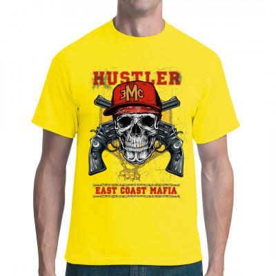 Totenkopf mit Gang - Outfit, Goldzahn, Revolver und Schlagring. Cooles Biker Shirt im Digital-Direktdruck. Waschfest.