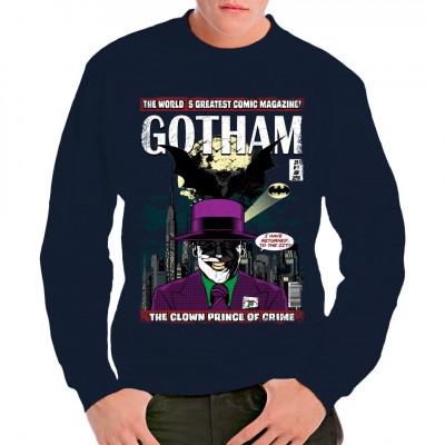 Der Joker und der Dark Knight vor der Silhouette Gothams als Digital-Direktdruck.