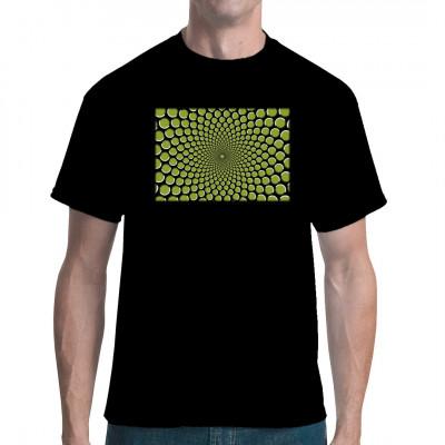 Wenn du dieses abgedrehte Shirt trägst, werden deinem Gegenüber die Augen tränen und die Synapsen quer schießen. Durch Form und Farbe gaukelt diese Grafik dem Gehirn Bewegung vor, wo eigentlich keine ist.  Verblüffende optische Täuschung für dein Shirt