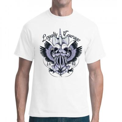 Loyalty Courage Wappen aus dem Mittelalter eines Adelsfamilie. Kriegerhelm mit Adler und gespreitzen Flügeln mit einer Axt