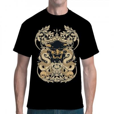 Cooles Shirtmotiv mit Schwertern, Schlangen und einem japanischen Mempō.