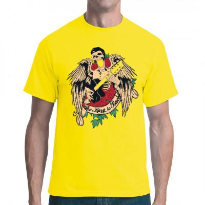 The King is Back - Elvis  Tattoo Motiv als Print auf deinem Shirt. Elvis ist zwar tot, aber noch lange nicht ruhig. Er ließ sich ein paar Flügel wachsen und rockt immer weiter... natürlich mit Rosen und stets mit Gitarre. Let's Rock'n'Roll