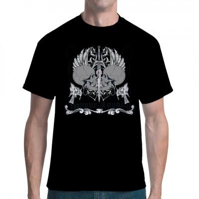 Honour and Loyalty  Zwei Tötenköpfe schauen sich in die Augen, nur getrennt durch ein Schwert. Oldschool Gothic Motiv für dein T-Shirt, Sweatshirt oder V-Neck
