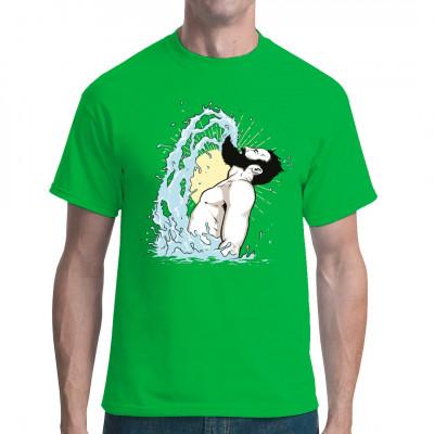 Slow-Motion Wasserspritzer aus einem geschüttelten Vollbart - Comic Style Shirt