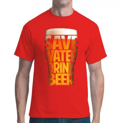 Spare Wasser - trinke Bier! Nach dieser einfachen Regel lebt es sich weitaus entspannter.  Hol dir dieses durch leckeren Hopfenblütentee inspirierte Motiv für dein Shirt.