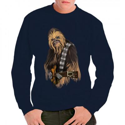 Dieser Wookie geht einfach nur ab. Wenn man so viele zottelige Haare hat, was passt da auch besser, als den Metal - Gott zu spielen und die Mähne zu schütteln? Cooles Shirt Motiv für rockende Sci Fi Fans.