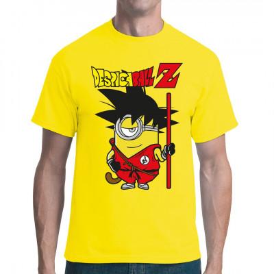 Dieser kleine, aber unglaublich kampfstarke Minion ist auf der Suche nach den 7 legendären Despicaballs.  Comic Parodie Motiv für dein Shirt. Nicht nur für Kids ein tolles Geschenk