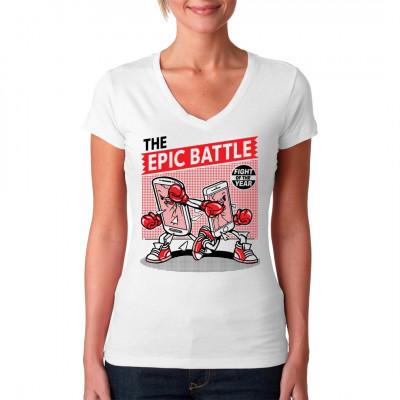 Symbolischer Kampf zwischen 2 Smartphones als Shirt Motiv