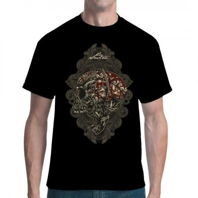 Schreiender Totenkopf auf Ornamentmuster. Tolles Shirt Motiv, z.B. als Geschenk  Mittels Digital-Direktdruck aufgebracht. waschfest