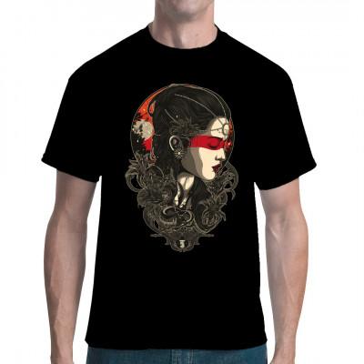 Junge Frau mit Perlenschmuck und rotem Makeup im Mondlicht Umwerfendes Artwork als digitaler Direktdruck für dein T-Shirt, Sweatshirt oder V-Neck
